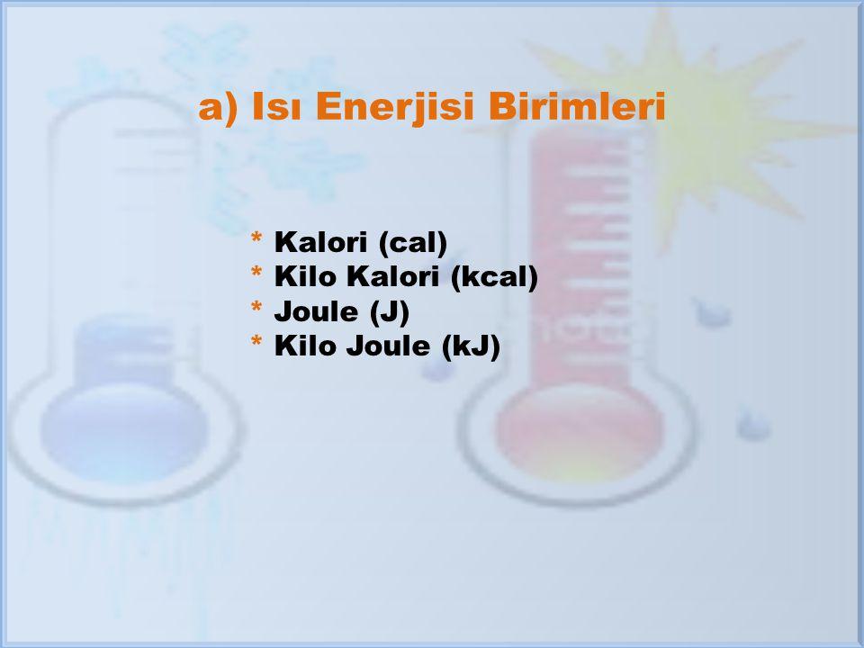 a) Isı Enerjisi Birimleri * Kalori (cal) * Kilo Kalori (kcal) * Joule (J) * Kilo Joule (kJ)