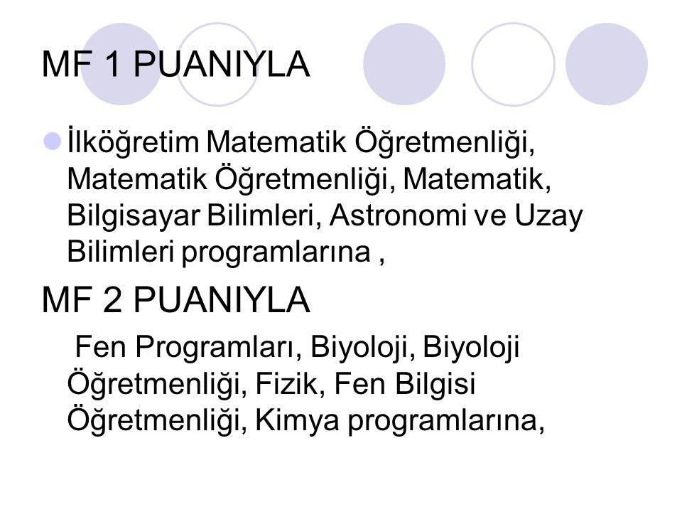 MF 1 PUANIYLA İlköğretim Matematik Öğretmenliği, Matematik Öğretmenliği, Matematik, Bilgisayar Bilimleri, Astronomi ve Uzay Bilimleri programlarına, MF 2 PUANIYLA Fen Programları, Biyoloji, Biyoloji Öğretmenliği, Fizik, Fen Bilgisi Öğretmenliği, Kimya programlarına,