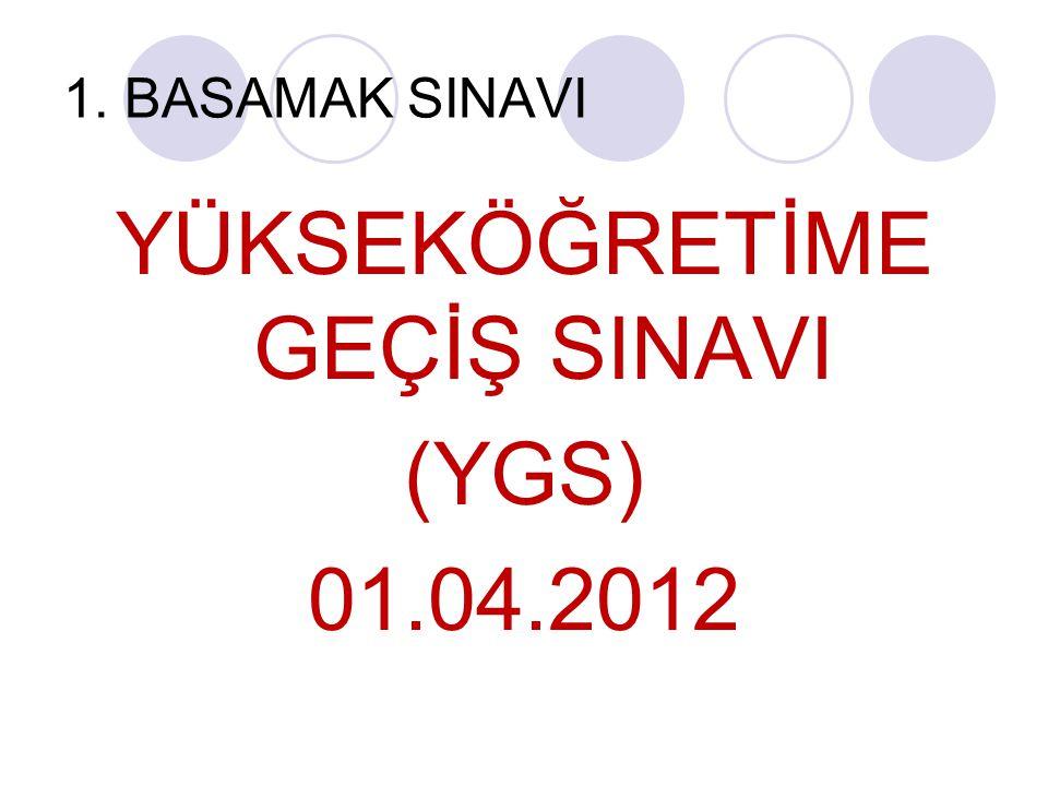 1. BASAMAK SINAVI YÜKSEKÖĞRETİME GEÇİŞ SINAVI (YGS) 01.04.2012