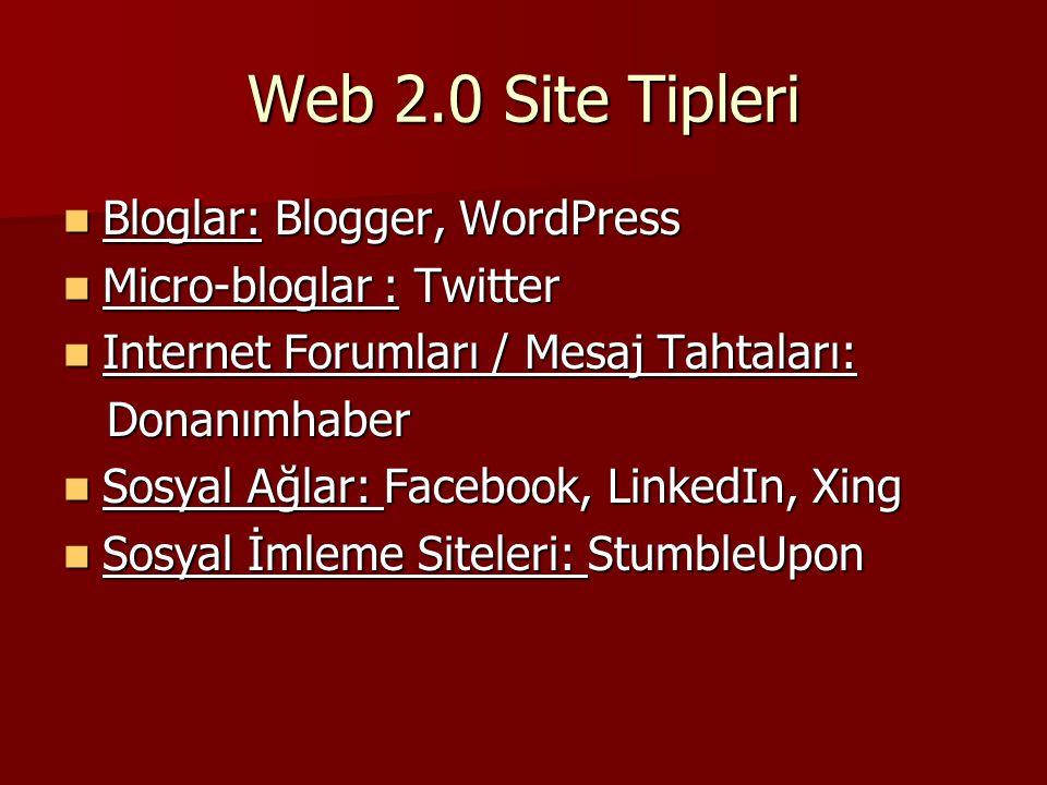 Web 2.0 Site Tipleri Bloglar: Blogger, WordPress Bloglar: Blogger, WordPress Micro-bloglar : Twitter Micro-bloglar : Twitter Internet Forumları / Mesa