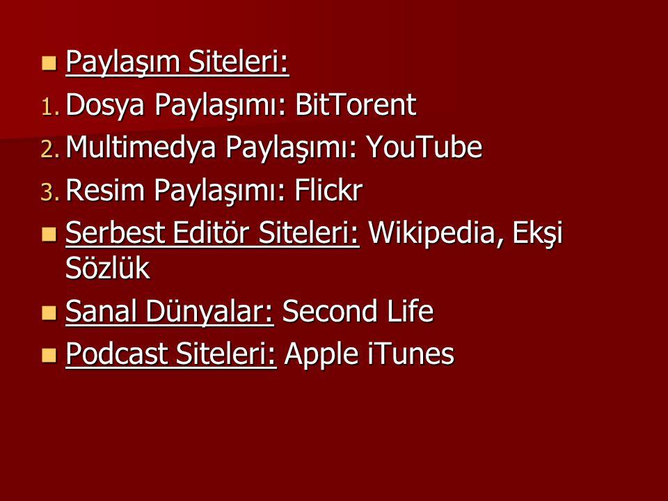 Paylaşım Siteleri: Paylaşım Siteleri: 1. Dosya Paylaşımı: BitTorent 2. Multimedya Paylaşımı: YouTube 3. Resim Paylaşımı: Flickr Serbest Editör Siteler