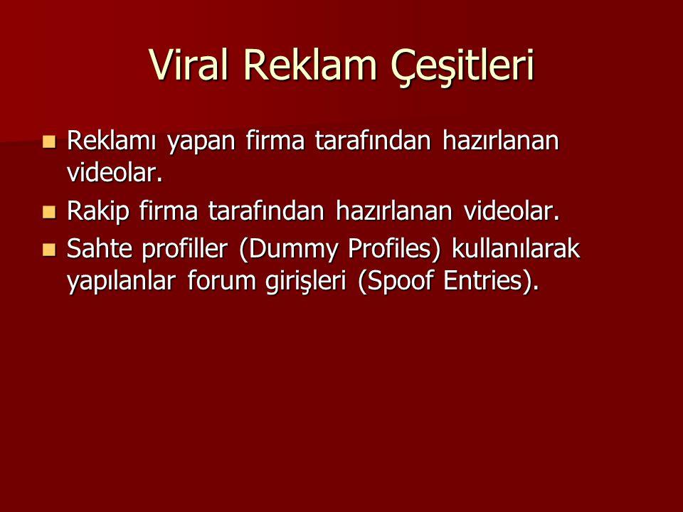 Viral Reklam Çeşitleri Reklamı yapan firma tarafından hazırlanan videolar. Reklamı yapan firma tarafından hazırlanan videolar. Rakip firma tarafından