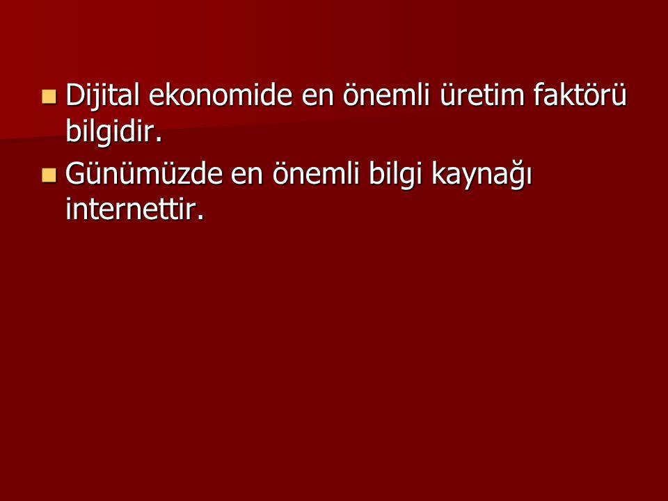 Dijital ekonomide en önemli üretim faktörü bilgidir. Dijital ekonomide en önemli üretim faktörü bilgidir. Günümüzde en önemli bilgi kaynağı internetti