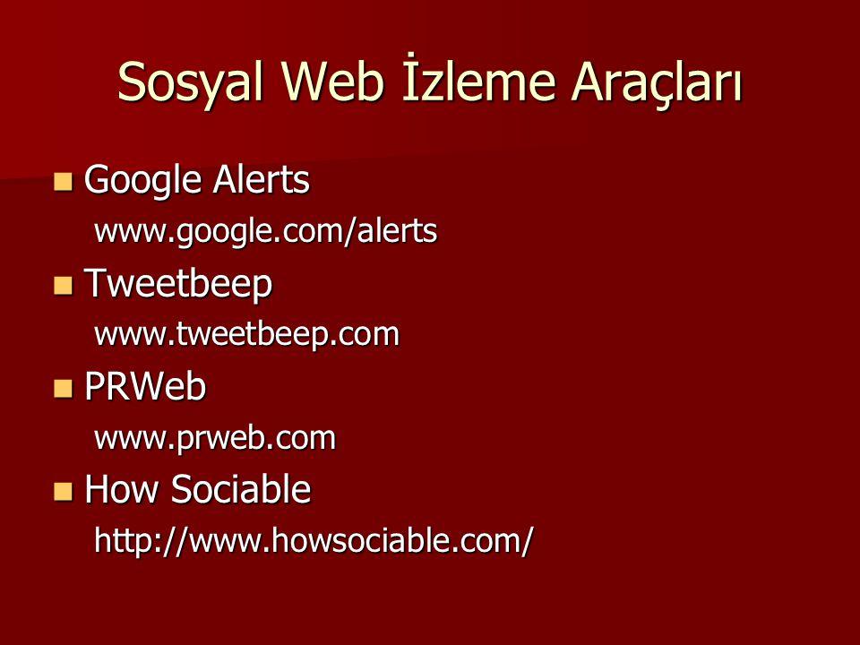 Sosyal Web İzleme Araçları Google Alerts Google Alerts www.google.com/alerts www.google.com/alerts Tweetbeep Tweetbeep www.tweetbeep.com www.tweetbeep
