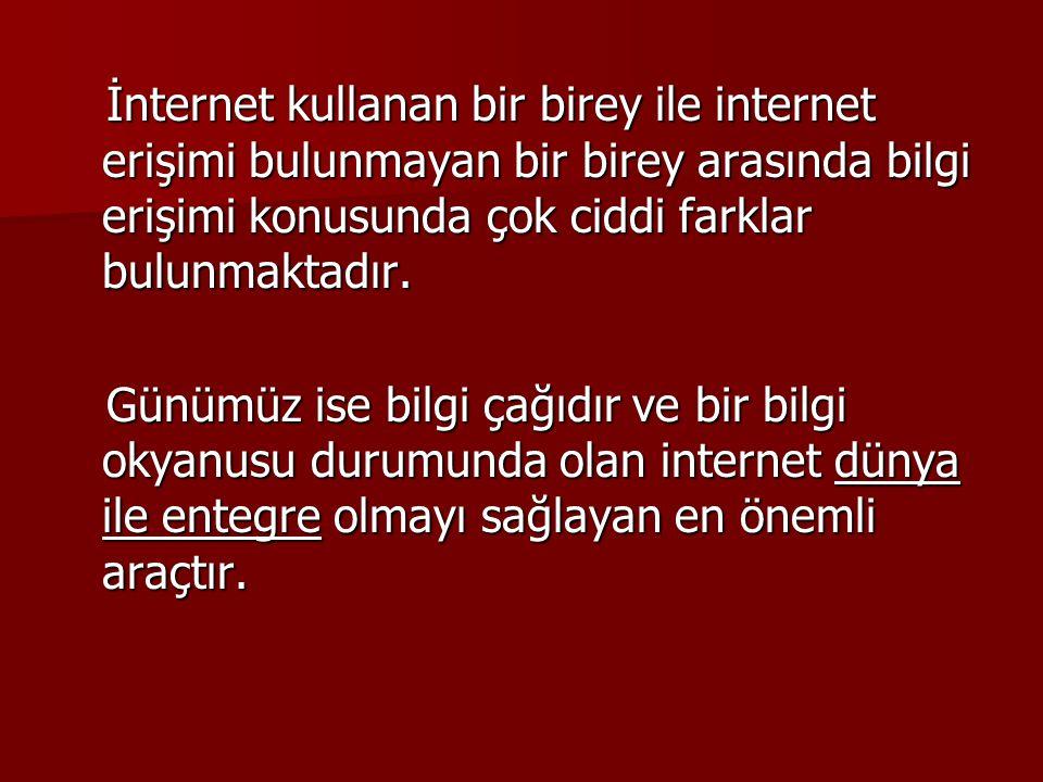 İnternet kullanan bir birey ile internet erişimi bulunmayan bir birey arasında bilgi erişimi konusunda çok ciddi farklar bulunmaktadır. İnternet kulla