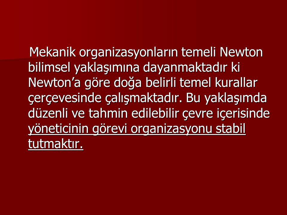 Mekanik organizasyonların temeli Newton bilimsel yaklaşımına dayanmaktadır ki Newton'a göre doğa belirli temel kurallar çerçevesinde çalışmaktadır. Bu