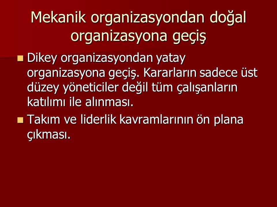 Mekanik organizasyondan doğal organizasyona geçiş Dikey organizasyondan yatay organizasyona geçiş. Kararların sadece üst düzey yöneticiler değil tüm ç