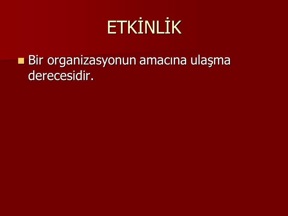 ETKİNLİK Bir organizasyonun amacına ulaşma derecesidir. Bir organizasyonun amacına ulaşma derecesidir.