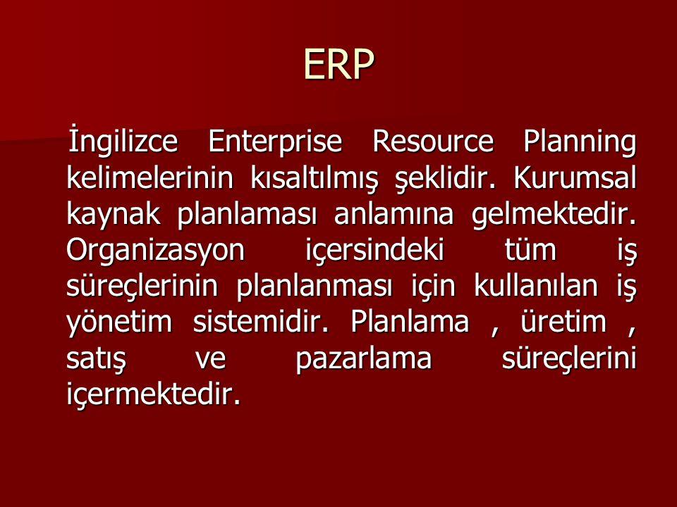 ERP İngilizce Enterprise Resource Planning kelimelerinin kısaltılmış şeklidir. Kurumsal kaynak planlaması anlamına gelmektedir. Organizasyon içersinde