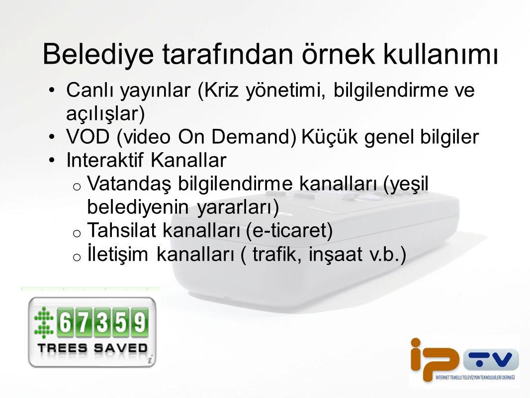 Belediye tarafından örnek kullanımı Canlı yayınlar (Kriz yönetimi, bilgilendirme ve açılışlar) VOD (video On Demand) Küçük genel bilgiler Interaktif K