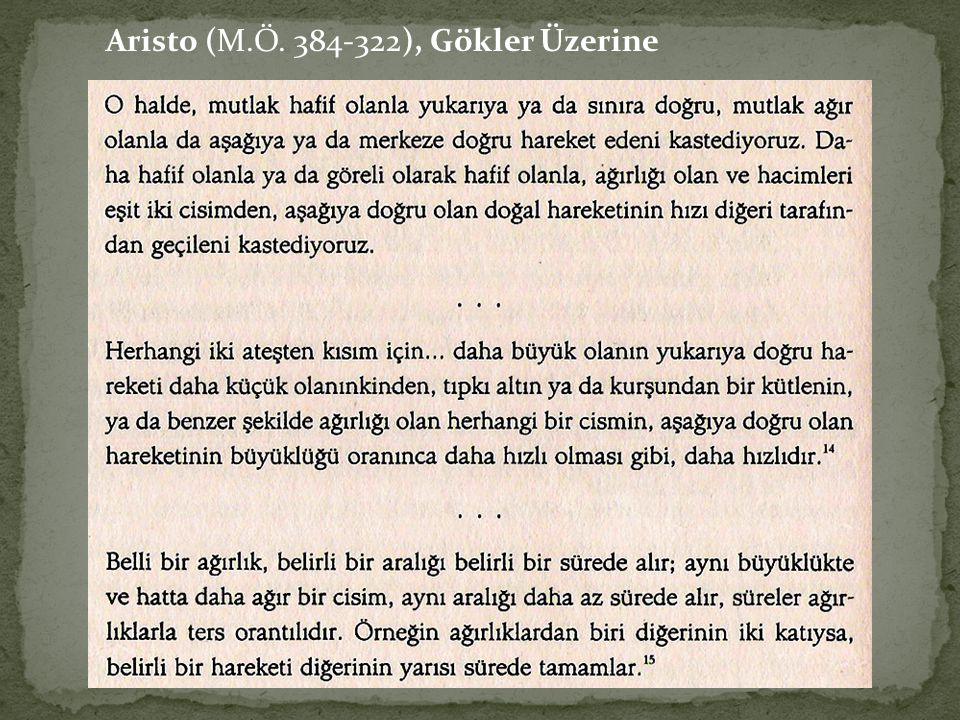 Aristo (M.Ö. 384-322), Gökler Üzerine