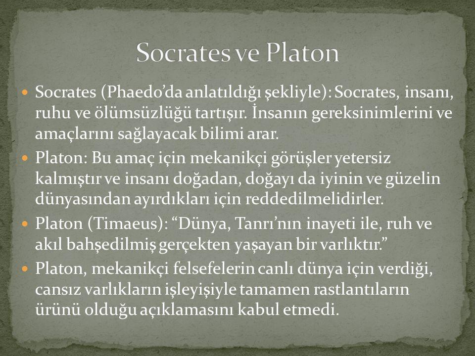 Socrates (Phaedo'da anlatıldığı şekliyle): Socrates, insanı, ruhu ve ölümsüzlüğü tartışır. İnsanın gereksinimlerini ve amaçlarını sağlayacak bilimi ar