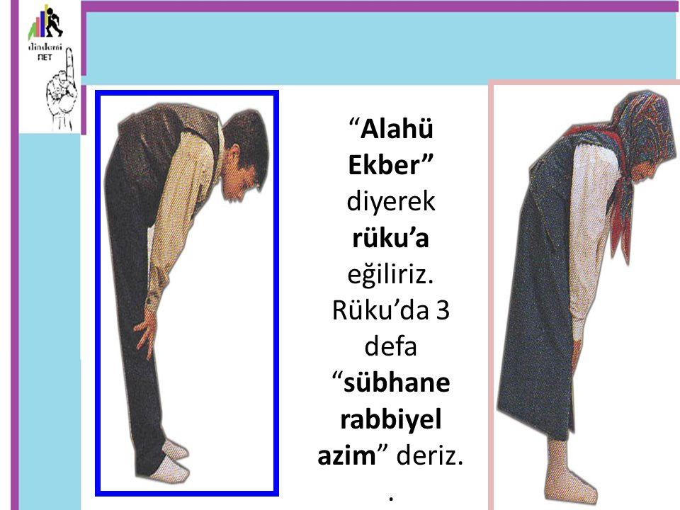 Alahü Ekber diyerek rüku'a eğiliriz. Rüku'da 3 defa sübhane rabbiyel azim deriz..