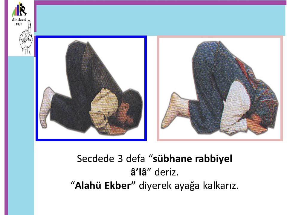 """Secdede 3 defa """"sübhane rabbiyel â'lâ"""" deriz. """"Alahü Ekber"""" diyerek ayağa kalkarız."""