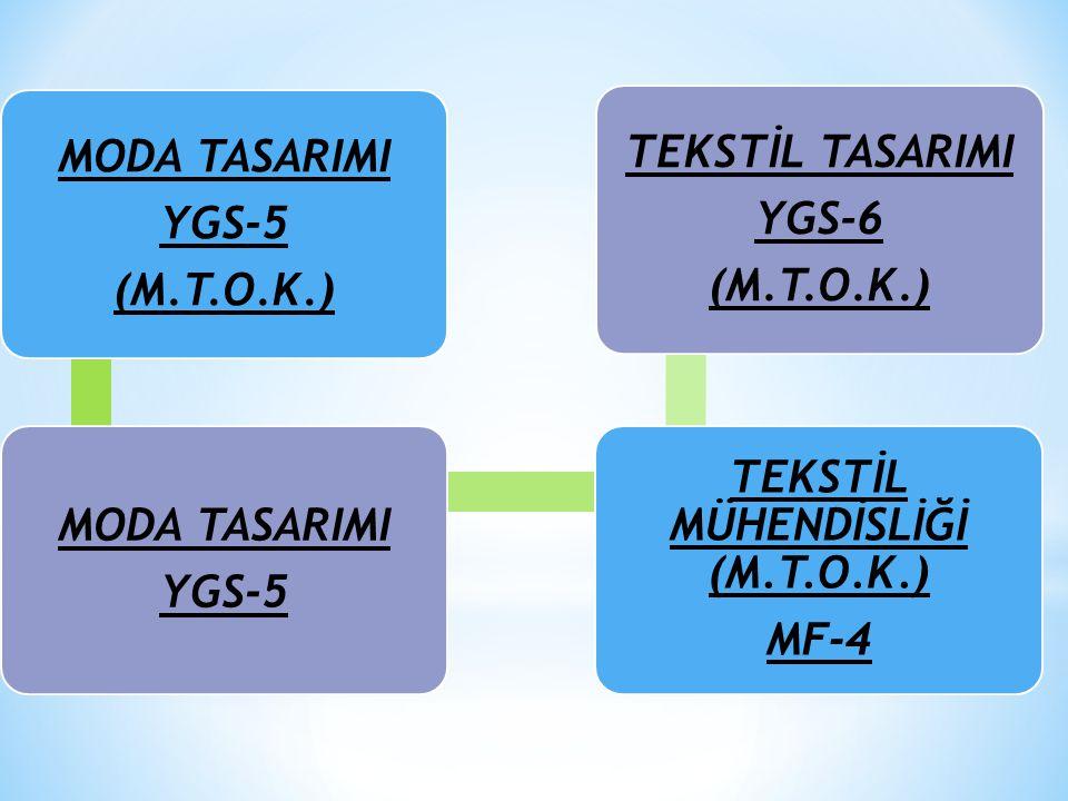 MODA TASARIMI YGS-5 (M.T.O.K.) MODA TASARIMI YGS-5 TEKSTİL MÜHENDİSLİĞİ (M.T.O.K.) MF-4 TEKSTİL TASARIMI YGS-6 (M.T.O.K.)