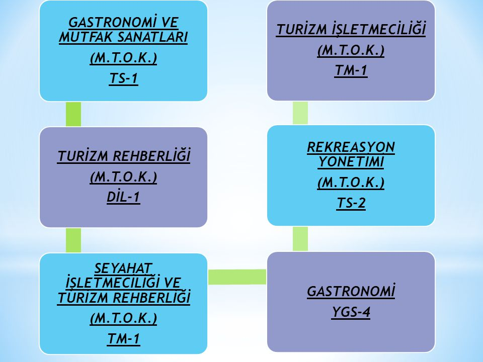 GASTRONOMİ VE MUTFAK SANATLARI (M.T.O.K.) TS-1 TURİZM REHBERLİĞİ (M.T.O.K.) DİL-1 SEYAHAT İŞLETMECİLİĞİ VE TURİZM REHBERLİĞİ (M.T.O.K.) TM-1 GASTRONOM