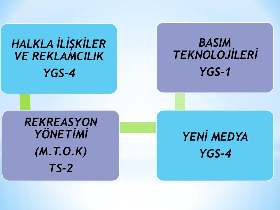 HALKLA İLİŞKİLER VE REKLAMCILIK YGS-4 REKREASYON YÖNETİMİ (M.T.O.K) TS-2 YENİ MEDYA YGS-4 BASIM TEKNOLOJİLERİ YGS-1