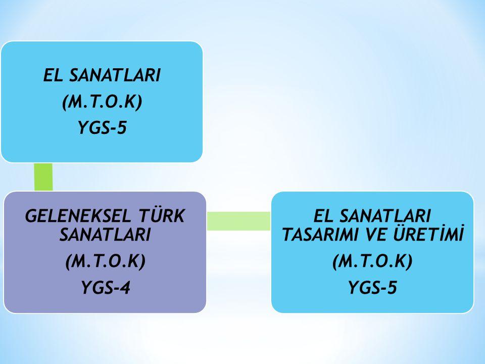 (M.T.O.K) YGS-5 GELENEKSEL TÜRK SANATLARI (M.T.O.K) YGS-4 EL SANATLARI TASARIMI VE ÜRETİMİ (M.T.O.K) YGS-5