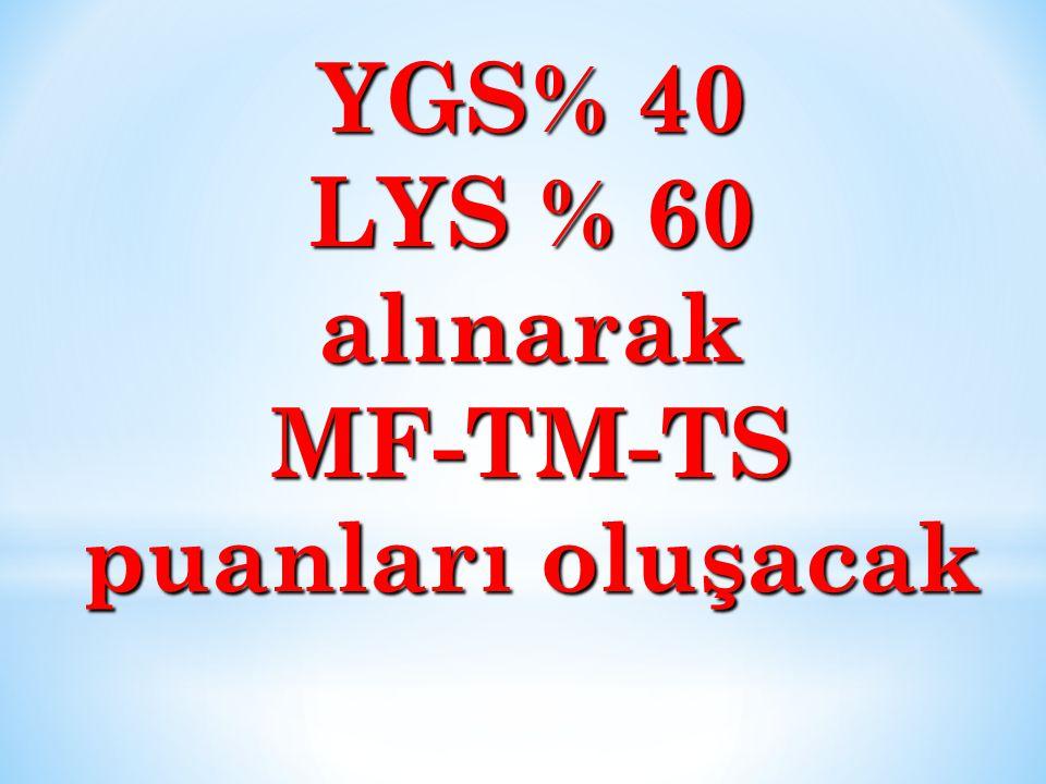 YGS% 40 LYS % 60 alınarakMF-TM-TS puanları oluşacak