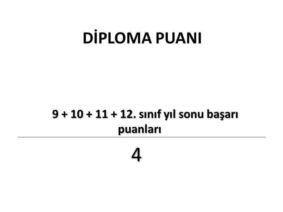DİPLOMA PUANI 9 + 10 + 11 + 12.sınıf yıl sonu başarı puanları 9 + 10 + 11 + 12.