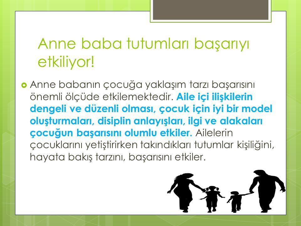 Anne baba tutumları başarıyı etkiliyor!  Anne babanın çocuğa yaklaşım tarzı başarısını önemli ölçüde etkilemektedir. Aile içi ilişkilerin dengeli ve