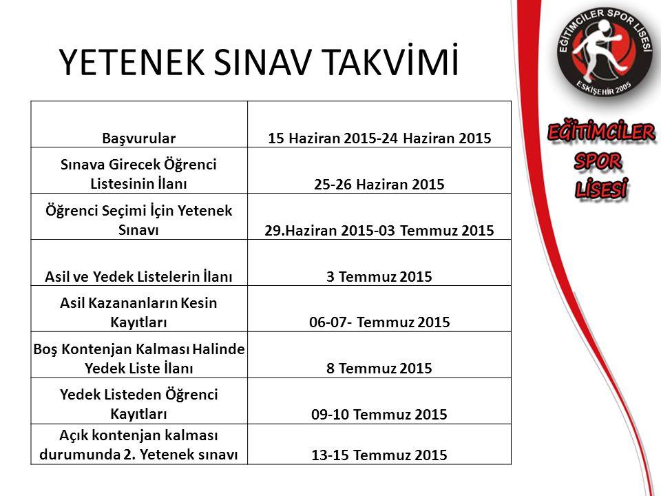 YETENEK SINAV TAKVİMİ Başvurular15 Haziran 2015-24 Haziran 2015 Sınava Girecek Öğrenci Listesinin İlanı25-26 Haziran 2015 Öğrenci Seçimi İçin Yetenek