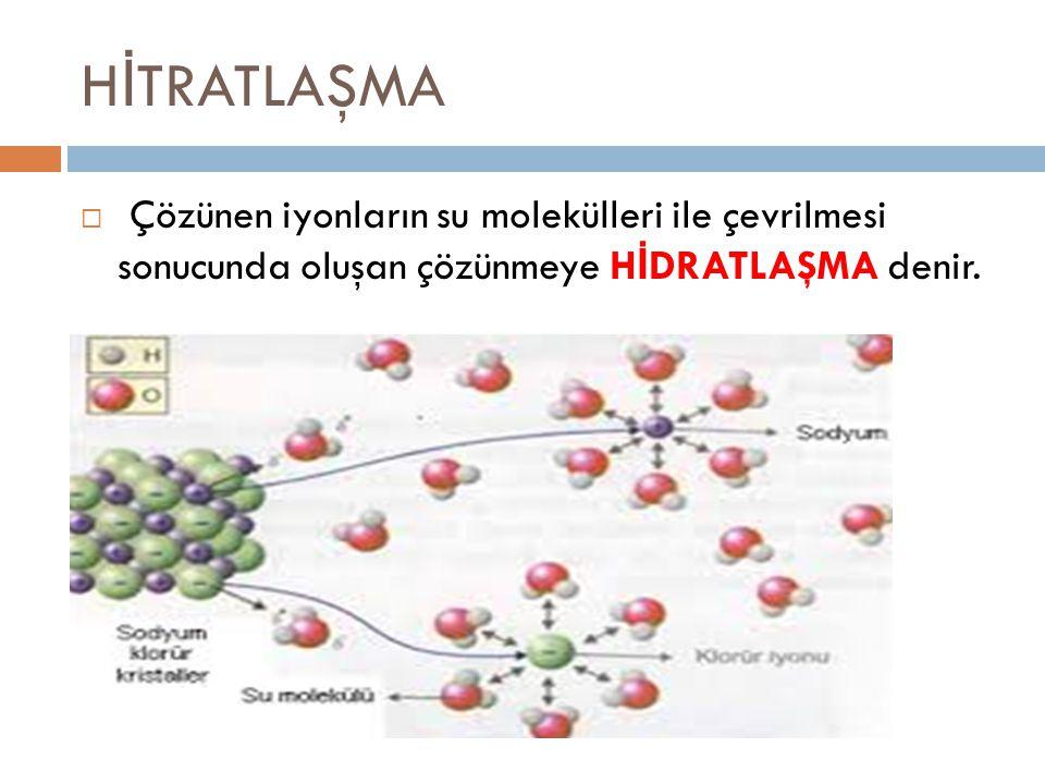 H İ TRATLAŞMA  Çözünen iyonların su molekülleri ile çevrilmesi sonucunda oluşan çözünmeye H İ DRATLAŞMA denir.