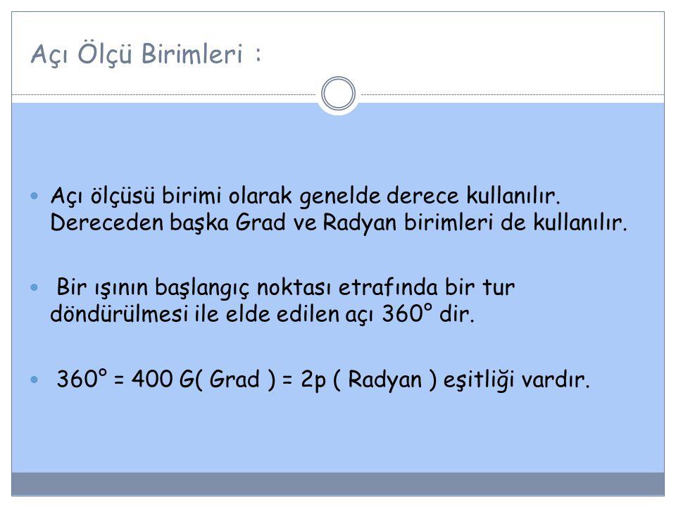 Derecenin Alt Birimleri: 1° = 60 (dakika) 1 = 60 (saniye) 1° = 3600 dir.