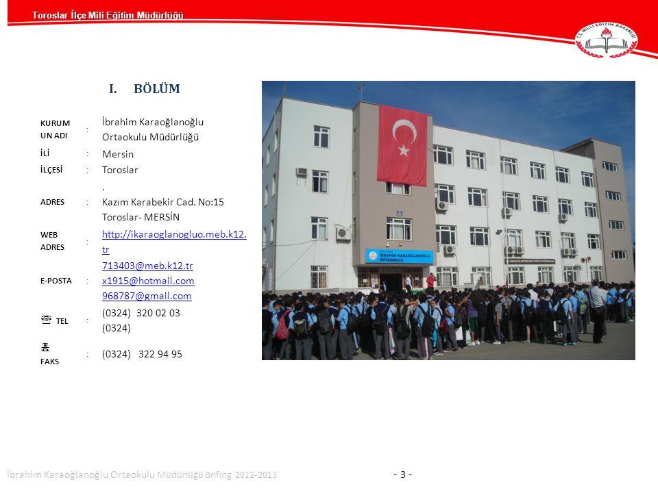 I.BÖLÜM KURUM UN ADI : İbrahim Karaoğlanoğlu Ortaokulu Müdürlüğü İLİ: Mersin İLÇESİ: Toroslar ADRES:.