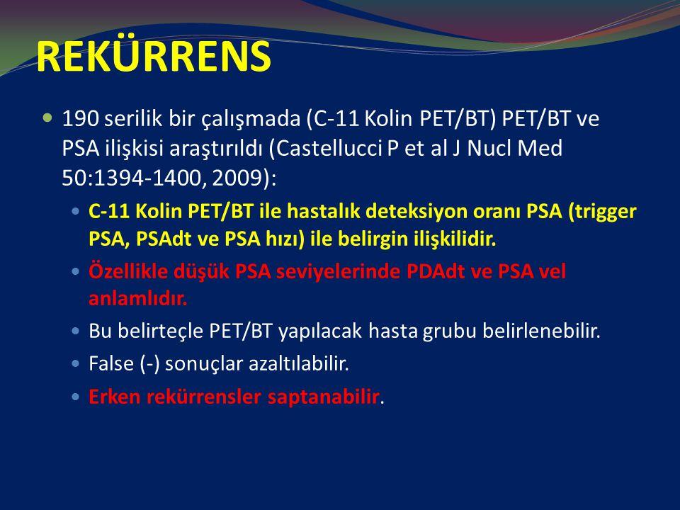 REKÜRRENS 190 serilik bir çalışmada (C-11 Kolin PET/BT) PET/BT ve PSA ilişkisi araştırıldı (Castellucci P et al J Nucl Med 50:1394-1400, 2009): C-11 Kolin PET/BT ile hastalık deteksiyon oranı PSA (trigger PSA, PSAdt ve PSA hızı) ile belirgin ilişkilidir.