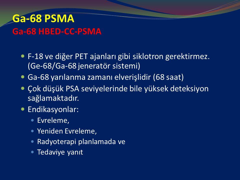 Ga-68 PSMA Ga-68 HBED-CC-PSMA F-18 ve diğer PET ajanları gibi siklotron gerektirmez. (Ge-68/Ga-68 jeneratör sistemi) Ga-68 yarılanma zamanı elverişlid