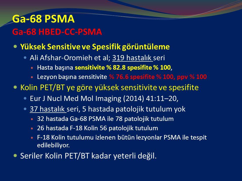 Ga-68 PSMA Ga-68 HBED-CC-PSMA Yüksek Sensitive ve Spesifik görüntüleme Ali Afshar-Oromieh et al; 319 hastalık seri Hasta başına sensitivite % 82.8 spesifite % 100, Lezyon başına sensitivite % 76.6 spesifite % 100, ppv % 100 Kolin PET/BT ye göre yüksek sensitivite ve spesifite Eur J Nucl Med Mol Imaging (2014) 41:11–20, 37 hastalık seri, 5 hastada patolojik tutulum yok 32 hastada Ga-68 PSMA ile 78 patolojik tutulum 26 hastada F-18 Kolin 56 patolojik tutulum F-18 Kolin tutulumu izlenen bütün lezyonlar PSMA ile tespit edilebiliyor.