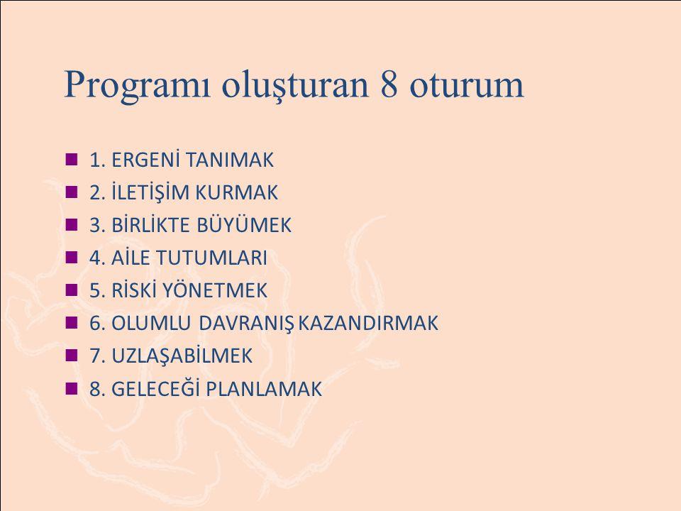 Programı oluşturan 8 oturum 1.ERGENİ TANIMAK 2. İLETİŞİM KURMAK 3.