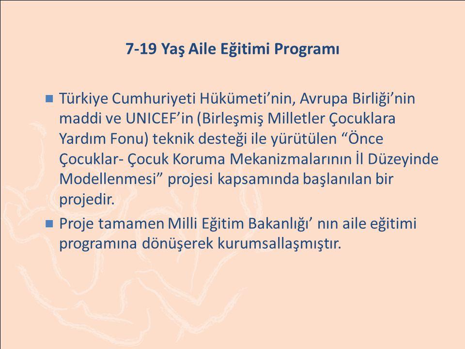 7-19 Yaş Aile Eğitimi Programı Türkiye Cumhuriyeti Hükümeti'nin, Avrupa Birliği'nin maddi ve UNICEF'in (Birleşmiş Milletler Çocuklara Yardım Fonu) teknik desteği ile yürütülen Önce Çocuklar- Çocuk Koruma Mekanizmalarının İl Düzeyinde Modellenmesi projesi kapsamında başlanılan bir projedir.