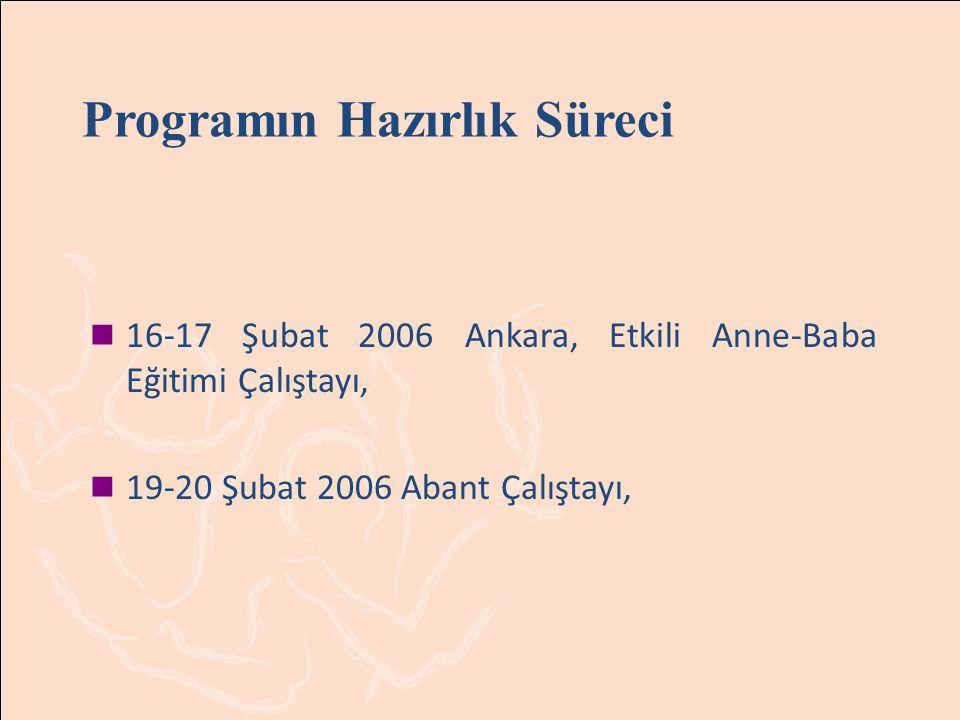 16-17 Şubat 2006 Ankara, Etkili Anne Baba Eğitimi Çalıştayı Ankara' daki çalıştaya aileler ve 7-19 yaş grubundaki çocuklar katıldı.