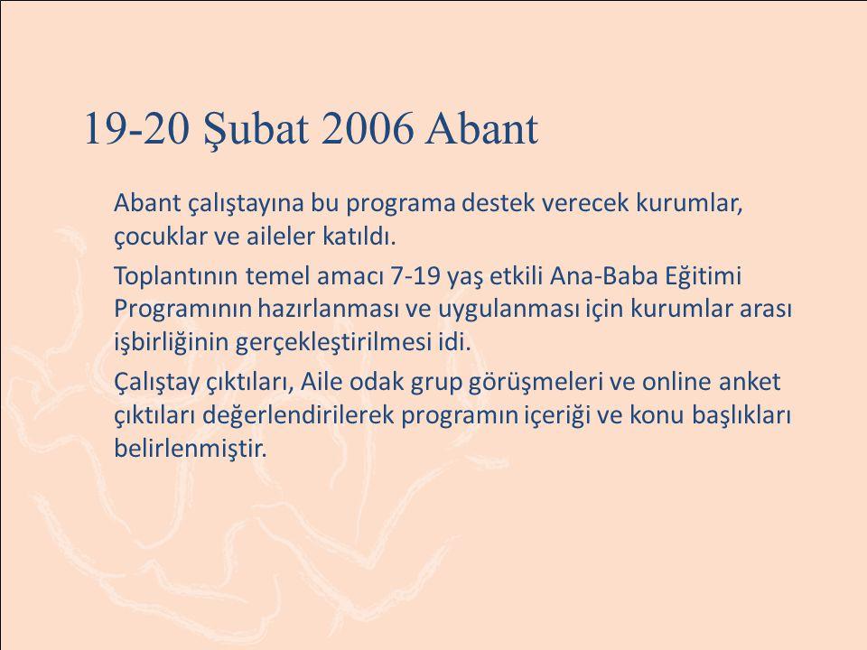 19-20 Şubat 2006 Abant Abant çalıştayına bu programa destek verecek kurumlar, çocuklar ve aileler katıldı. Toplantının temel amacı 7-19 yaş etkili Ana