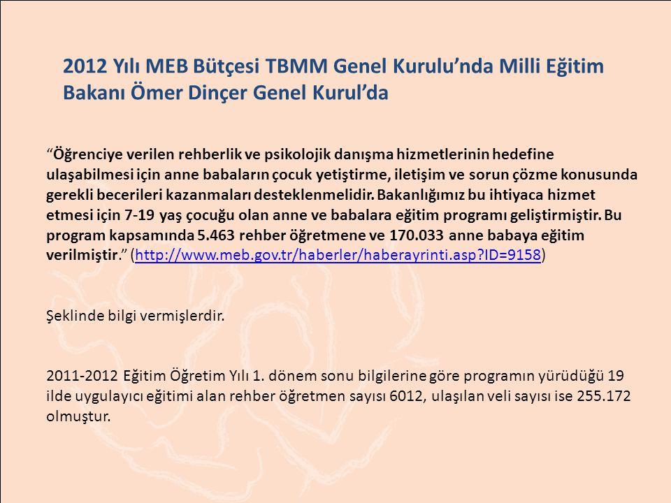 """2012 Yılı MEB Bütçesi TBMM Genel Kurulu'nda Milli Eğitim Bakanı Ömer Dinçer Genel Kurul'da """"Öğrenciye verilen rehberlik ve psikolojik danışma hizmetle"""