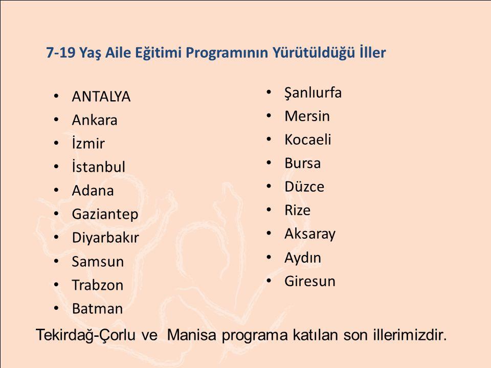 7-19 Yaş Aile Eğitimi Programının Yürütüldüğü İller Tekirdağ-Çorlu ve Manisa programa katılan son illerimizdir.