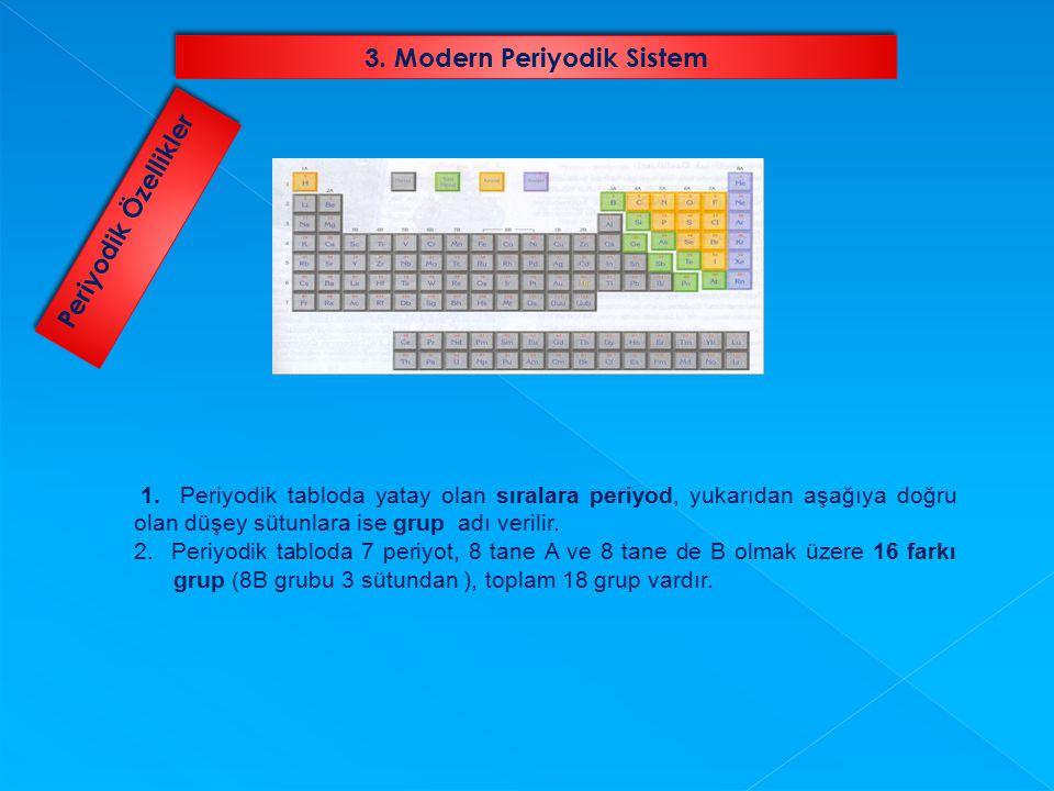 1. Periyodik tabloda yatay olan sıralara periyod, yukarıdan aşağıya doğru olan düşey sütunlara ise grup adı verilir. 2. Periyodik tabloda 7 periyot, 8