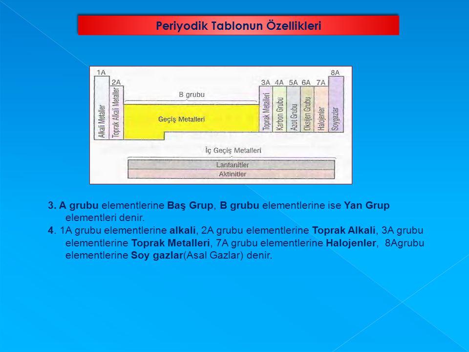 3. A grubu elementlerine Baş Grup, B grubu elementlerine ise Yan Grup elementleri denir. 4. 1A grubu elementlerine alkali, 2A grubu elementlerine Topr