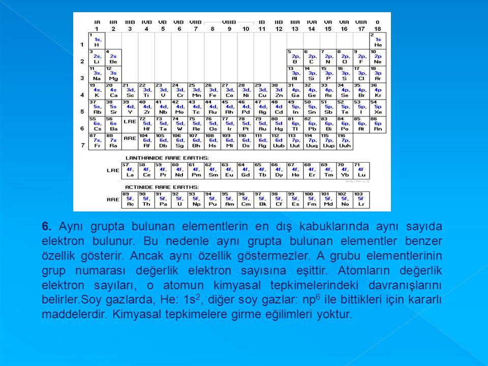 6. Aynı grupta bulunan elementlerin en dış kabuklarında aynı sayıda elektron bulunur. Bu nedenle aynı grupta bulunan elementler benzer özellik gösteri