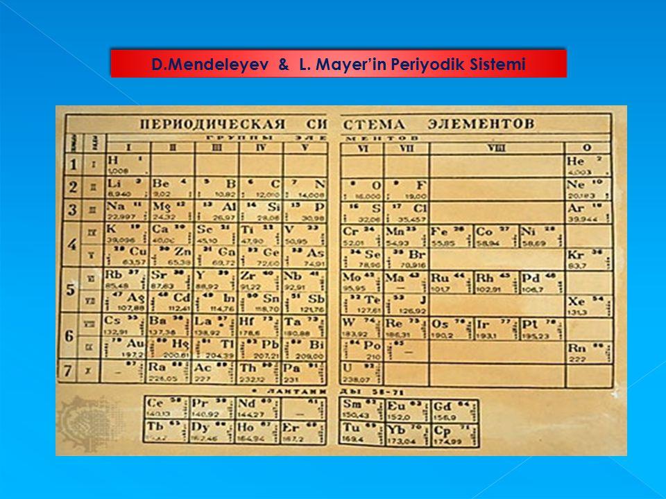 1869 yılında Dimitri Mendeleyev, 1970 yılında Lother Mayer birbirinden habersiz olarak yaptıkları benzer çalışmalarını açıkladılar.