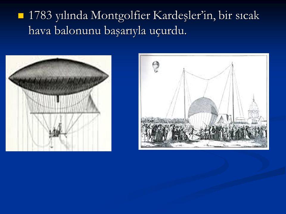 1783 yılında Montgolfier Kardeşler'in, bir sıcak hava balonunu başarıyla uçurdu. 1783 yılında Montgolfier Kardeşler'in, bir sıcak hava balonunu başarı