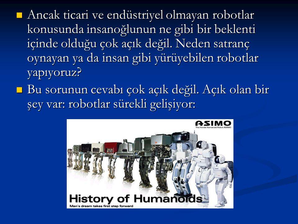 Ancak ticari ve endüstriyel olmayan robotlar konusunda insanoğlunun ne gibi bir beklenti içinde olduğu çok açık değil. Neden satranç oynayan ya da ins