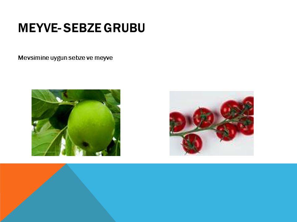 MEYVE- SEBZE GRUBU Mevsimine uygun sebze ve meyve