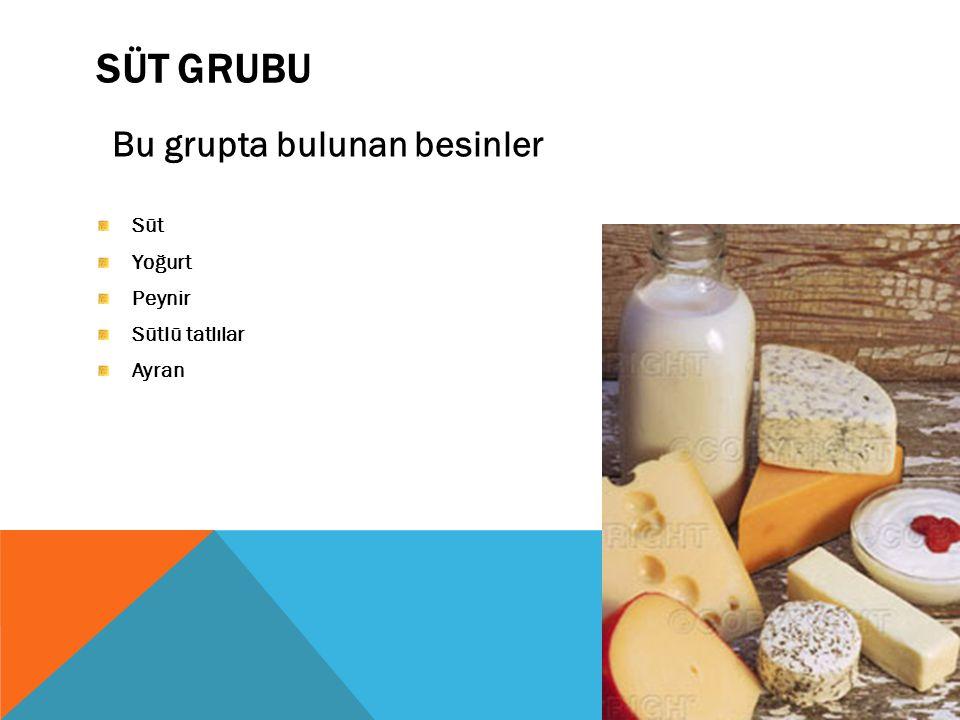 SÜT GRUBU Bu grupta bulunan besinler Süt Yoğurt Peynir Sütlü tatlılar Ayran
