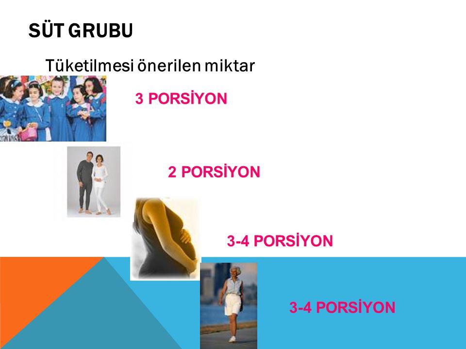 SÜT GRUBU Tüketilmesi önerilen miktar 3 PORSİYON 2 PORSİYON 3-4 PORSİYON