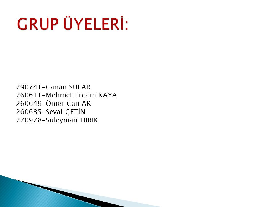290741-Canan SULAR 260611-Mehmet Erdem KAYA 260649-Ömer Can AK 260685-Seval ÇETİN 270978-Süleyman DİRİK