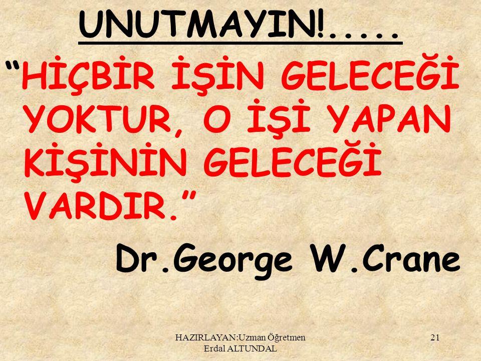 """UNUTMAYIN!..... """"HİÇBİR İŞİN GELECEĞİ YOKTUR, O İŞİ YAPAN KİŞİNİN GELECEĞİ VARDIR."""" Dr.George W.Crane HAZIRLAYAN:Uzman Öğretmen Erdal ALTUNDAL 21"""