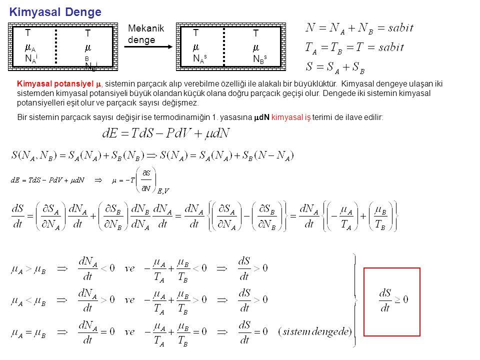 Termodinamik Potansiyel Yaygın değişkenler: x herhangi bir termodinamik değişken olmak üzere x=x 1 +x 2 olarak yazılabiliyorsa x yaygın (ekstensif) bir değişkendir(hacim ve mol sayısı gibi).
